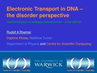 Electronic Transport in DNA – the disorder perspective