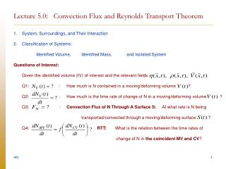 Lecture 5.0:   Convection Flux and Reynolds Transport Theorem