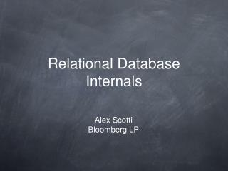 Relational Database Internals