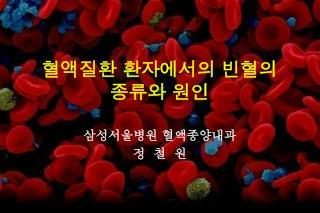 혈액질환 환자에서의 빈혈의  종류와 원인