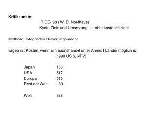 Kritikpunkte:    RICE- 98 ( W. D. Nordhaus)