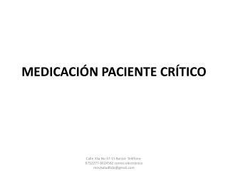 MEDICACIÓN PACIENTE CRÍTICO