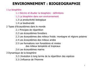 ENVIRONNEMENT : BIOGEOGRAPHIE