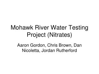 Mohawk River Water Testing Project (Nitrates)