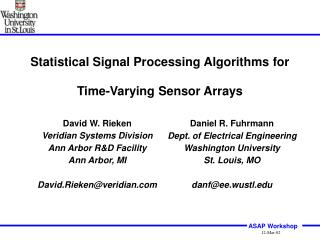Statistical Signal Processing Algorithms for Time-Varying Sensor Arrays