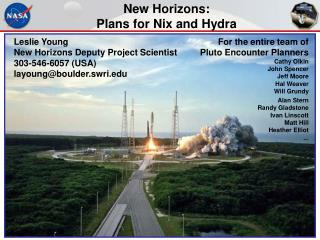 New Horizons:  Plans for Nix and Hydra