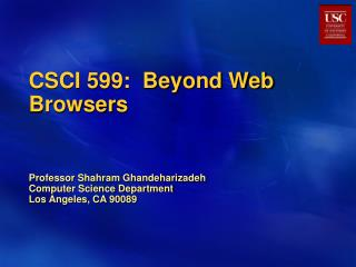 CSCI 599:  Beyond Web Browsers