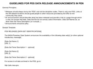 GUIDELINES FOR PDS DATA RELEASE ANNOUNCEMENTS IN PEN