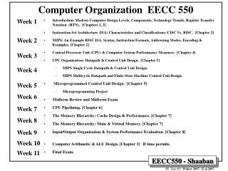 Computer Organization  EECC 550