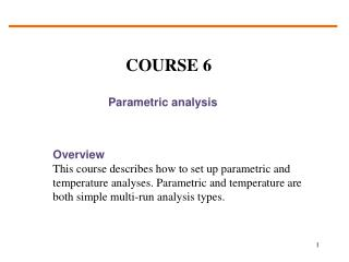Parametric analysis