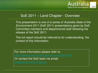 SoE 2011 – Land Chapter - Overview