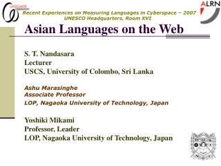 S. T. Nandasara Lecturer USCS, University of Colombo, Sri Lanka Ashu Marasinghe