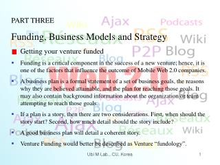 PART THREE Funding, Business Models and Strategy Getting your venture funded