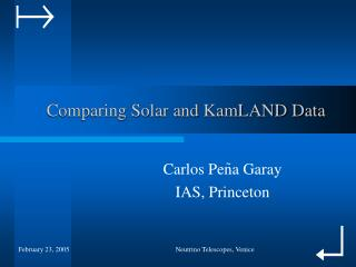 Comparing Solar and KamLAND Data