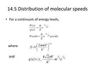 14.5 Distribution of molecular speeds