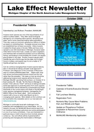 Lake Effect Newsletter Michigan Chapter of the North American Lake Management Society