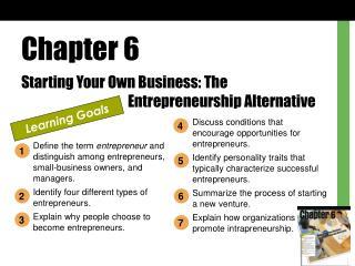 Chapter 6 Starting Your Own Business: The     Entrepreneurship Alternative