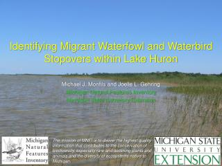 Identifying Migrant Waterfowl and Waterbird Stopovers within Lake Huron