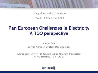 Pan European Challenges in Electricity  A TSO perspective