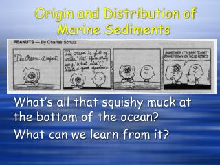 Origin and Distribution of Marine Sediments