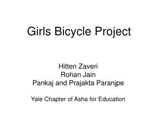 Girls Bicycle Project