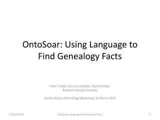 OntoSoar: Using  Language to Find Genealogy Facts
