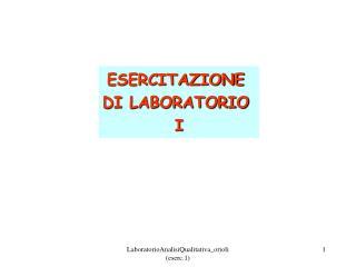 ESERCITAZIONE  DI LABORATORIO  I