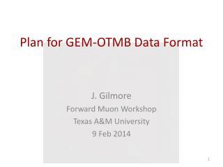 Plan for GEM-OTMB Data Format