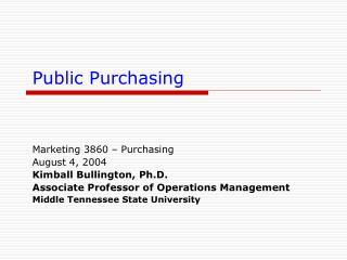 Public Purchasing