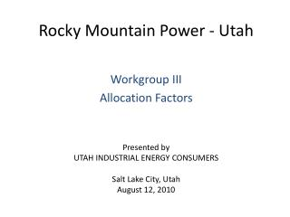 Rocky Mountain Power - Utah