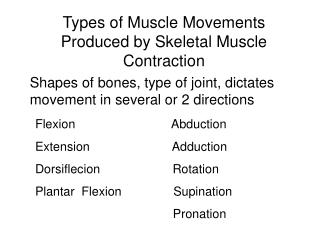 Types of Muscle Movements Produced by Skeletal Muscle Contraction