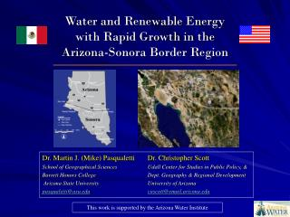 Water and Renewable Energy with Rapid Growth in the  Arizona-Sonora Border Region