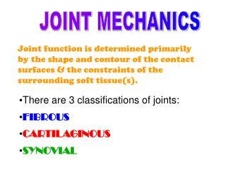 JOINT MECHANICS