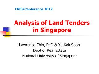 Analysis of Land Tenders in Singapore