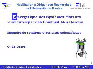 nergétique des Systèmes Moteurs alimentés par des Combustibles Gazeux
