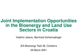 Joint Implementation Opportunities in the Bioenergy and Land Use Sectors in Croatia