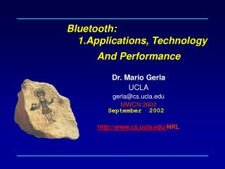 Bluetooth:      1.Applications, Technology
