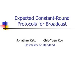 Expected Constant-Round Protocols for Broadcast