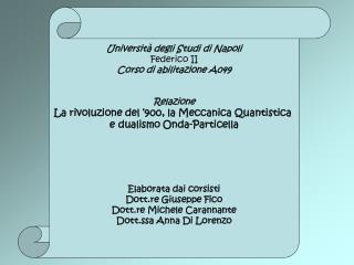 Università degli Studi di Napoli Federico II Corso di abilitazione A049 Relazione
