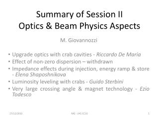 Summary of Session II Optics & Beam Physics Aspects