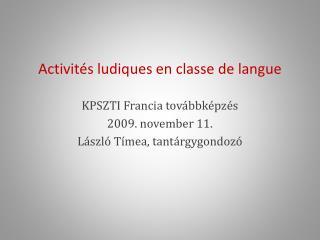 Activit s ludiques en classe de langue