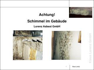 Achtung! Schimmel im Gebäude Lorenz Asbest GmbH