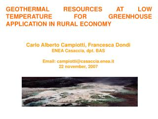 GEOTHERMAL RESOURCES AT LOW TEMPERATURE FOR GREENHOUSE APPLICATION IN RURAL ECONOMY