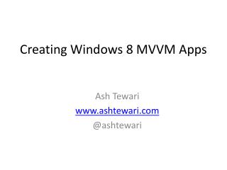 Creating Windows 8 MVVM Apps
