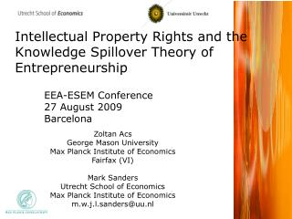 Intellectual Property Rights and the Knowledge Spillover Theory of Entrepreneurship