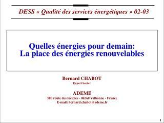 Quelles énergies pour demain:  La place des énergies renouvelables