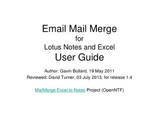 Email Mail Merge for Lotus Notes and Excel User Guide