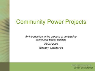 Community Power Projects