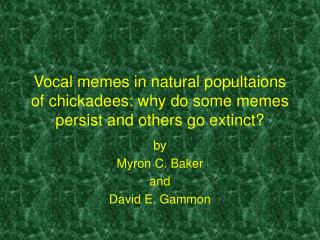 Vocal memes in natural popultaions of chickadees: why do some memes persist and others go extinct?