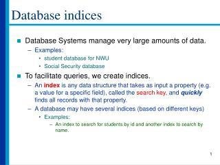 Database indices